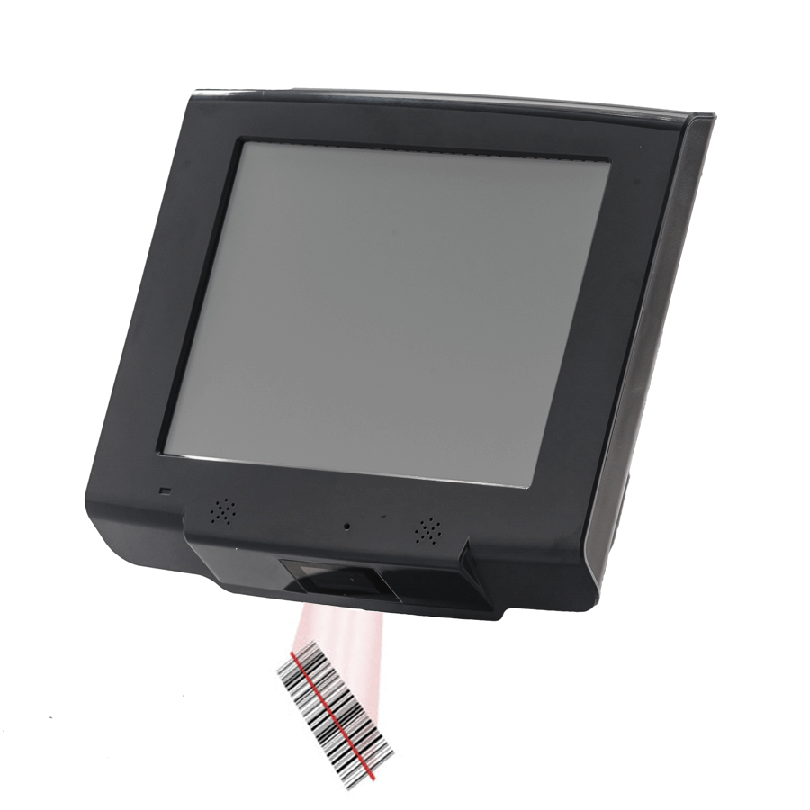 Price checker mini android kiosk with 2D barcode reader ideal for retail or access control